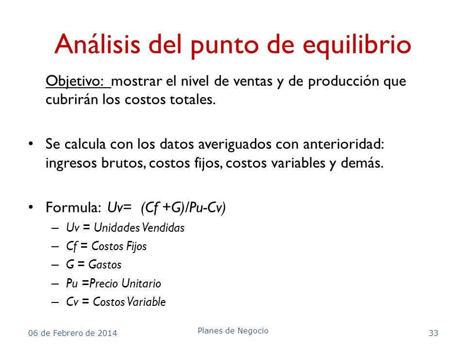 Análisis del punto de equilibrio Objetivo: mostrar el nivel de ventas y de producción que cubrirán los costos totales. Se calcula con los datos averig