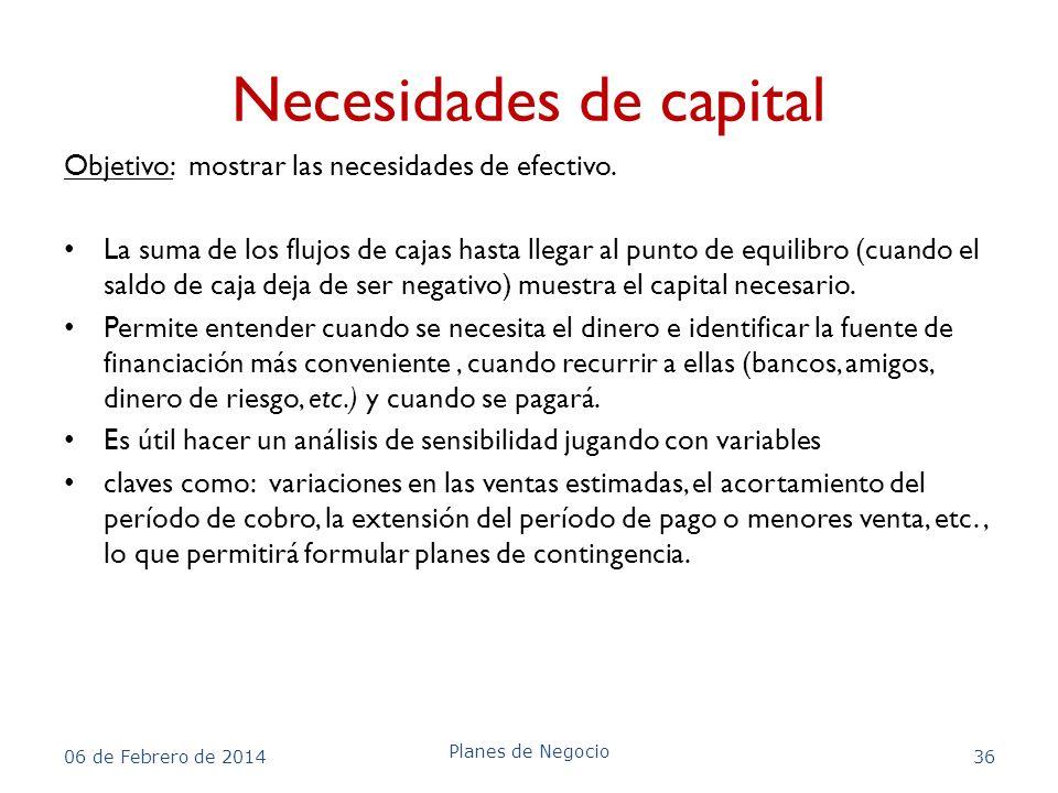 Necesidades de capital Objetivo: mostrar las necesidades de efectivo. La suma de los flujos de cajas hasta llegar al punto de equilibro (cuando el sal