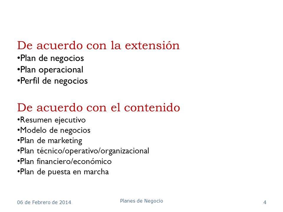 De acuerdo con la extensión Plan de negocios Plan operacional Perfil de negocios De acuerdo con el contenido Resumen ejecutivo Modelo de negocios Plan