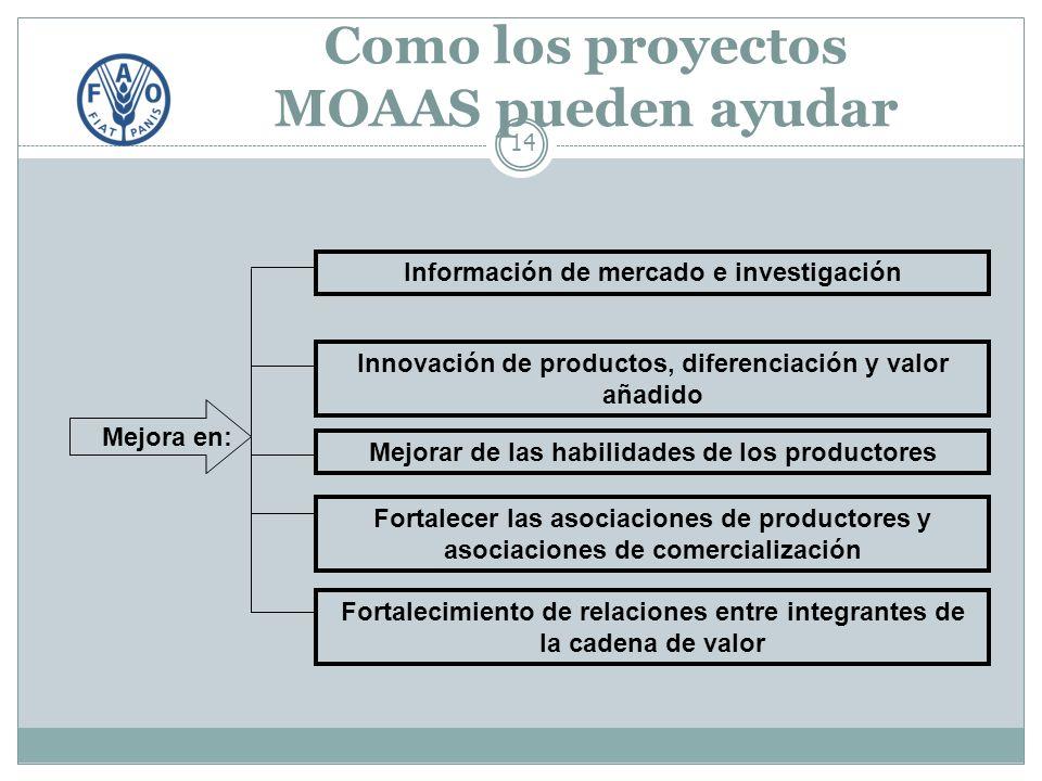 Como los proyectos MOAAS pueden ayudar 14 Información de mercado e investigación Fortalecer las asociaciones de productores y asociaciones de comercialización Mejorar de las habilidades de los productores Mejora en: Innovación de productos, diferenciación y valor añadido Fortalecimiento de relaciones entre integrantes de la cadena de valor