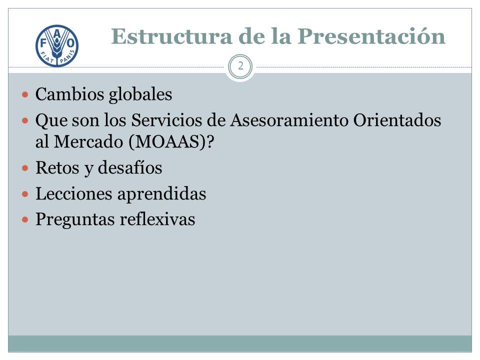 Estructura de la Presentación 2 Cambios globales Que son los Servicios de Asesoramiento Orientados al Mercado (MOAAS).