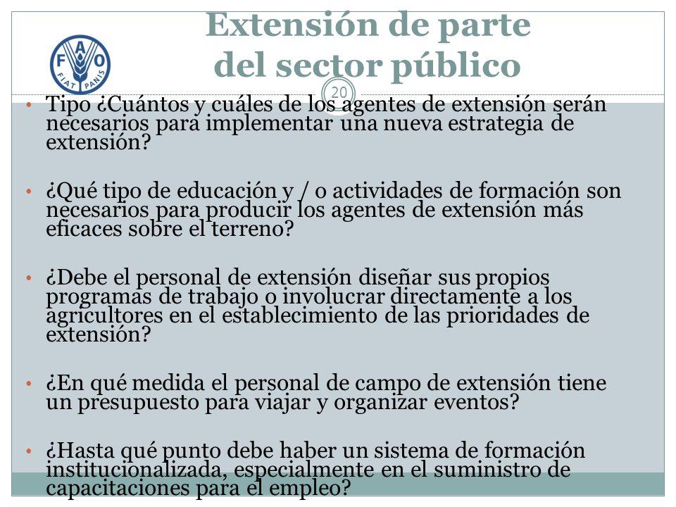 Extensión de parte del sector público 20 Tipo ¿Cuántos y cuáles de los agentes de extensión serán necesarios para implementar una nueva estrategia de extensión.