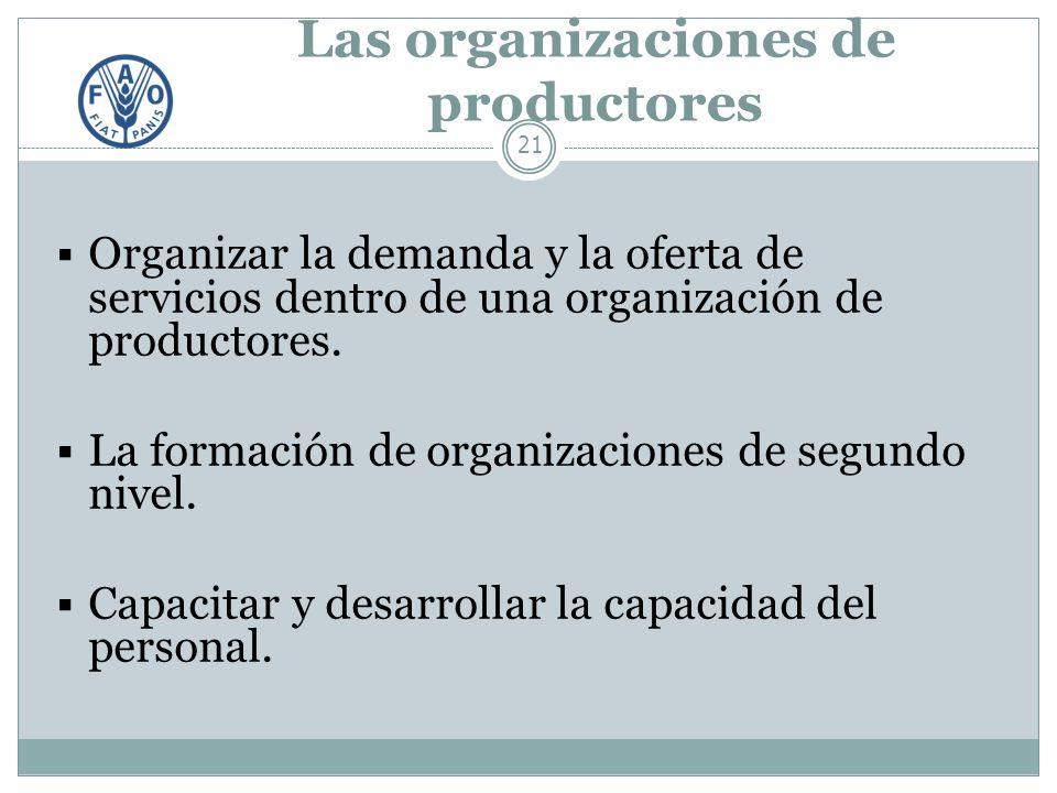 Las organizaciones de productores 21 Organizar la demanda y la oferta de servicios dentro de una organización de productores.