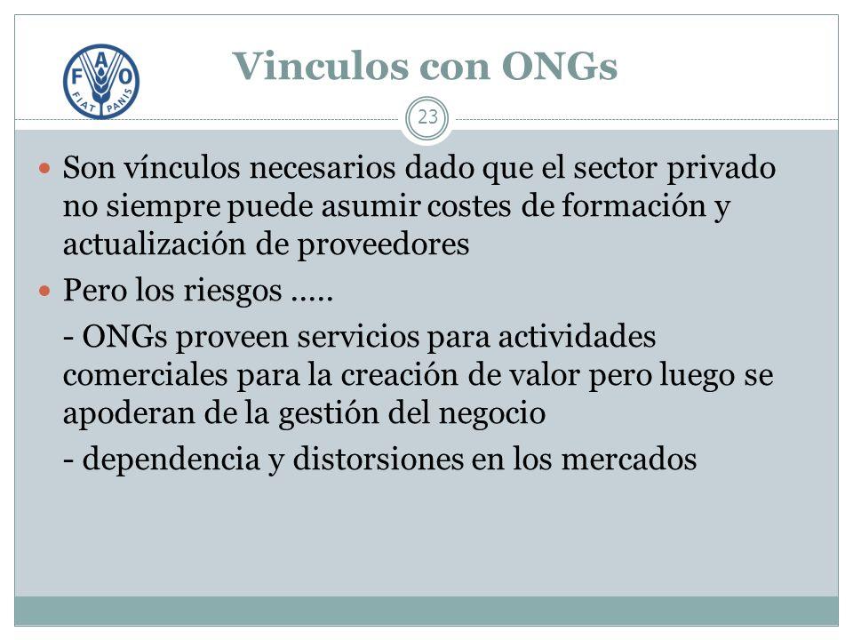 Vinculos con ONGs 23 Son vínculos necesarios dado que el sector privado no siempre puede asumir costes de formación y actualización de proveedores Pero los riesgos.....