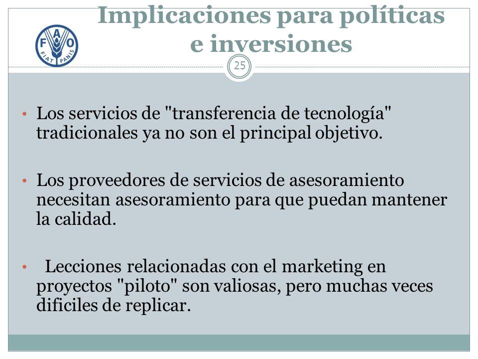 Implicaciones para políticas e inversiones 25 Los servicios de transferencia de tecnología tradicionales ya no son el principal objetivo.
