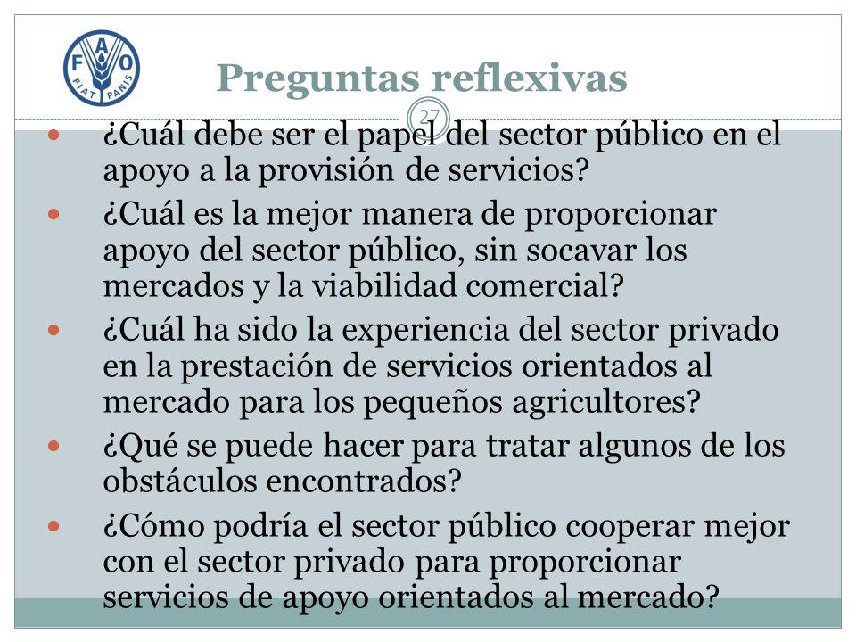Preguntas reflexivas 27 ¿Cuál debe ser el papel del sector público en el apoyo a la provisión de servicios.