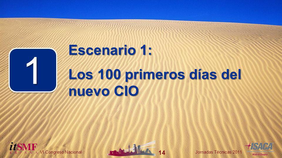 14 VI Congreso NacionalJornadas Técnicas 2011 14 VI Congreso NacionalJornadas Técnicas 2011 Escenario 1: Los 100 primeros días del nuevo CIO 11