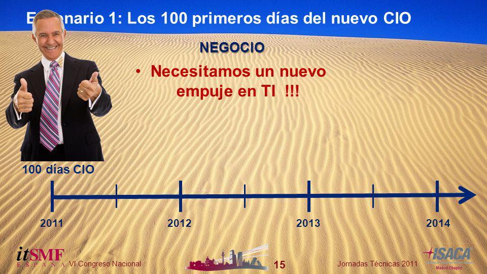15 VI Congreso NacionalJornadas Técnicas 2011 15 VI Congreso NacionalJornadas Técnicas 2011 Escenario 1: Los 100 primeros días del nuevo CIO 100 días CIO 2011201220132014 NEGOCIO Necesitamos un nuevo empuje en TI !!!