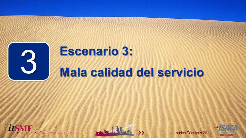 22 VI Congreso NacionalJornadas Técnicas 2011 22 VI Congreso NacionalJornadas Técnicas 2011 Escenario 3: Mala calidad del servicio 33