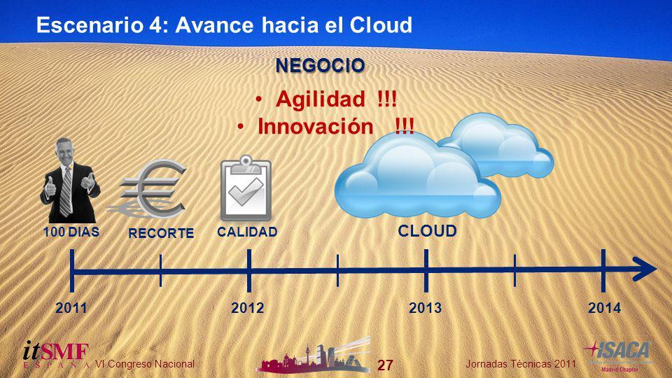 27 VI Congreso NacionalJornadas Técnicas 2011 27 VI Congreso NacionalJornadas Técnicas 2011 Escenario 4: Avance hacia el Cloud 2011201220132014 100 DIAS RECORTE NEGOCIO CALIDAD CLOUD Agilidad !!.