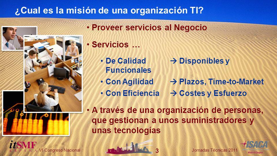 24 VI Congreso NacionalJornadas Técnicas 2011 Prácticas de Gobierno Prácticas Personales Escenario 3: Mala calidad del servicio Foco en lo crítico.