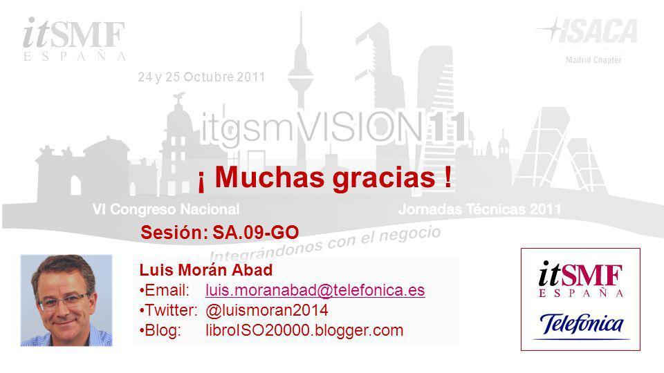 Luis Morán Abad Email: luis.moranabad@telefonica.esluis.moranabad@telefonica.es Twitter:@luismoran2014 Blog: libroISO20000.blogger.com ¡ Muchas gracias .