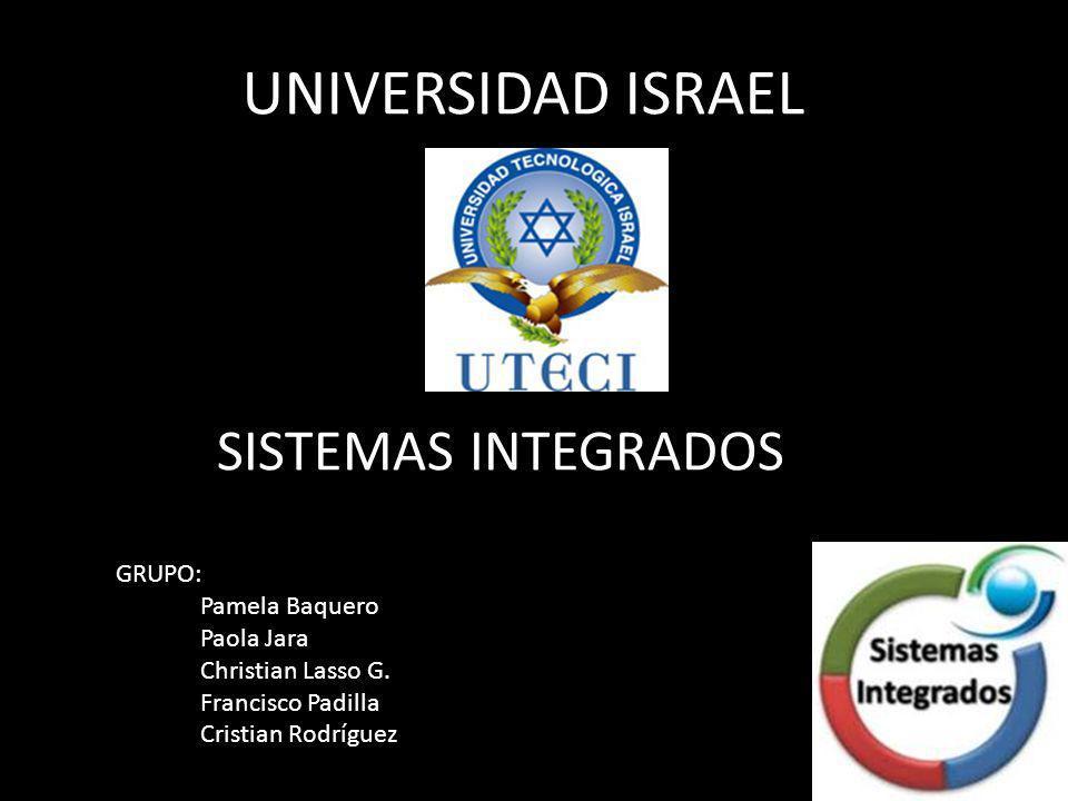 UNIVERSIDAD ISRAEL SISTEMAS INTEGRADOS GRUPO: Pamela Baquero Paola Jara Christian Lasso G.