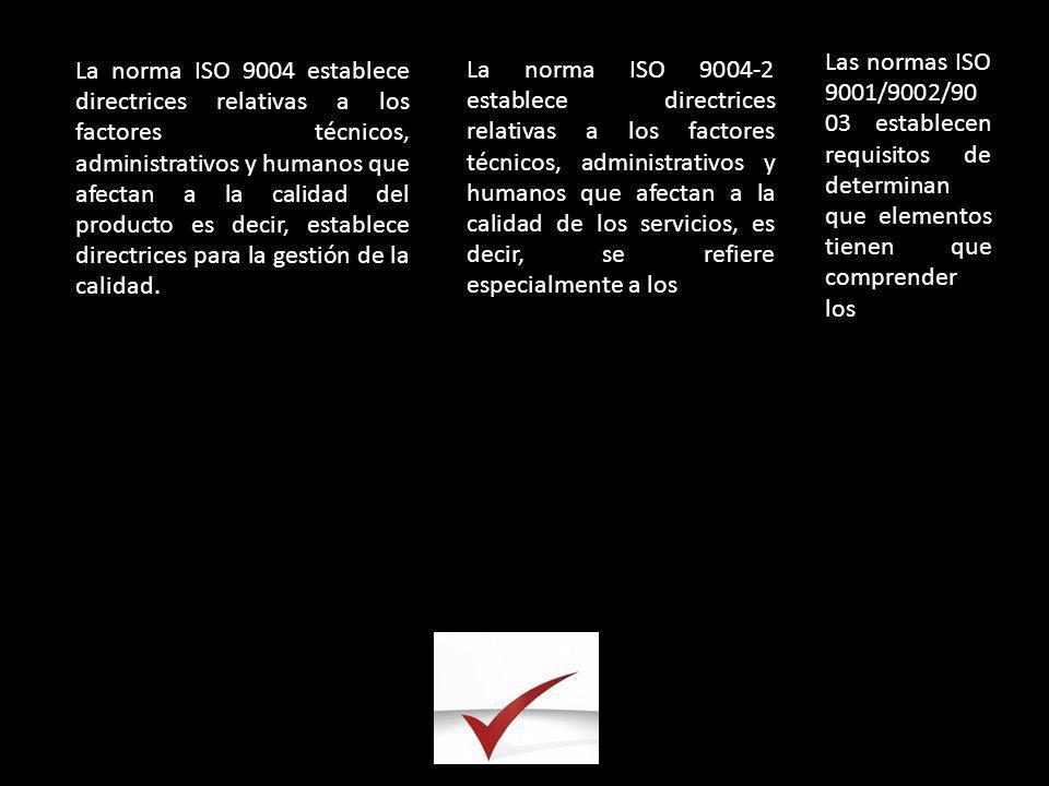 La norma ISO 9004 establece directrices relativas a los factores técnicos, administrativos y humanos que afectan a la calidad del producto es decir, establece directrices para la gestión de la calidad.