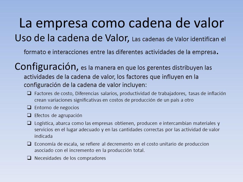 La empresa como cadena de valor Uso de la cadena de Valor, Las cadenas de Valor identifican el formato e interacciones entre las diferentes actividade
