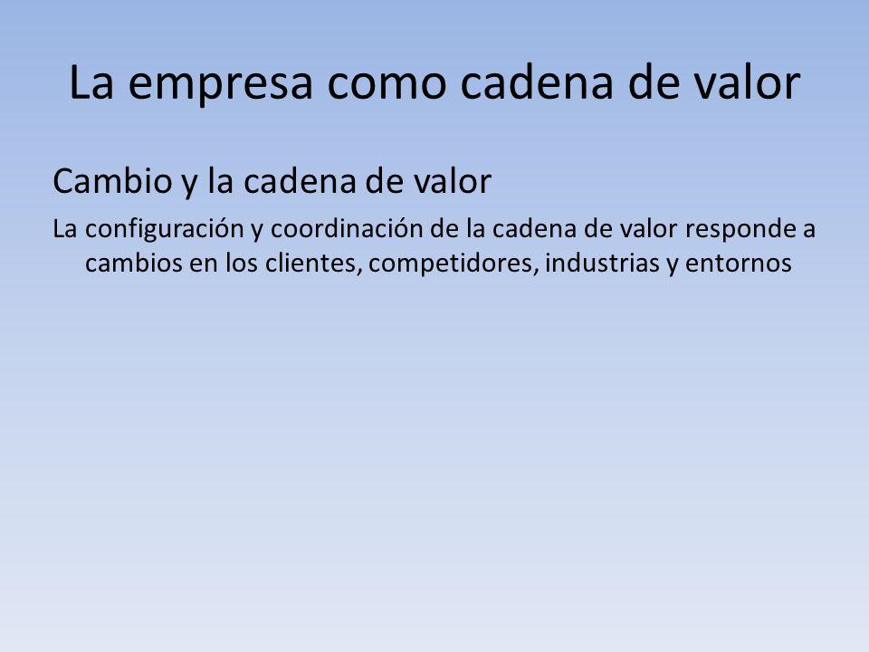 La empresa como cadena de valor Cambio y la cadena de valor La configuración y coordinación de la cadena de valor responde a cambios en los clientes,