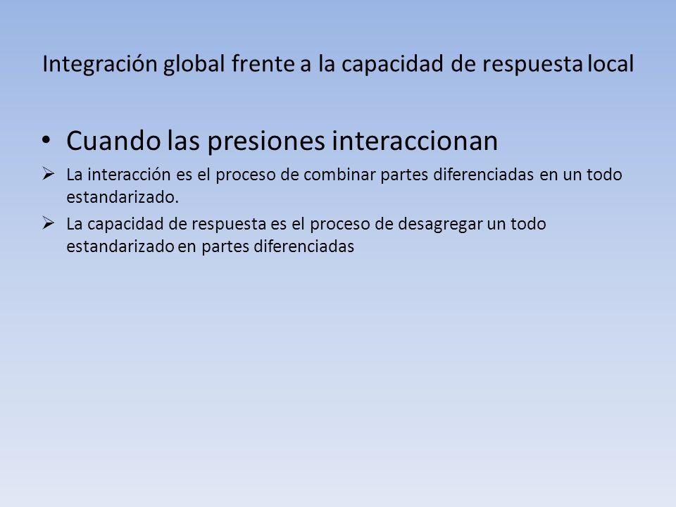 Integración global frente a la capacidad de respuesta local Cuando las presiones interaccionan La interacción es el proceso de combinar partes diferen