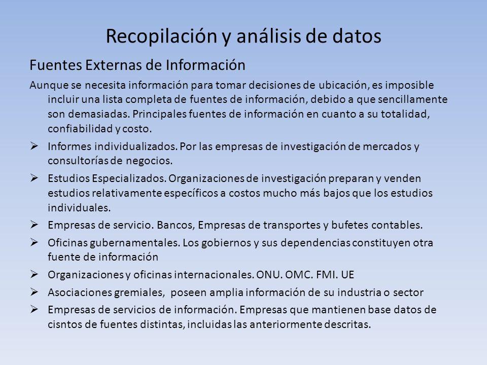 Recopilación y análisis de datos Fuentes Externas de Información Aunque se necesita información para tomar decisiones de ubicación, es imposible inclu