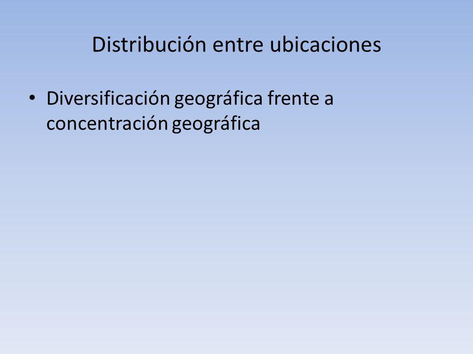 Distribución entre ubicaciones Diversificación geográfica frente a concentración geográfica