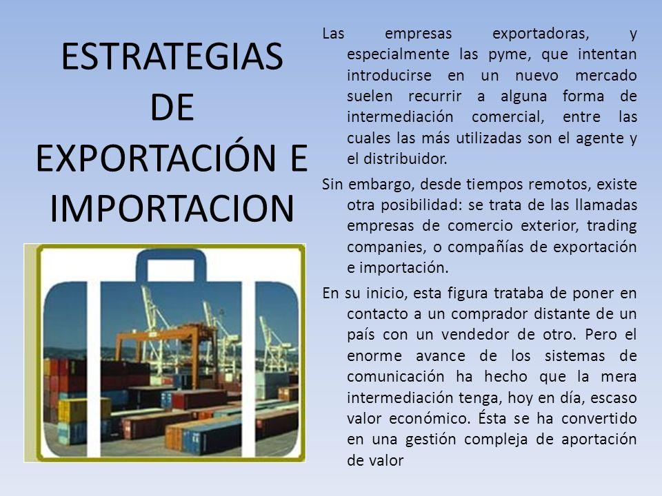 ESTRATEGIAS DE EXPORTACIÓN E IMPORTACION Las empresas exportadoras, y especialmente las pyme, que intentan introducirse en un nuevo mercado suelen rec