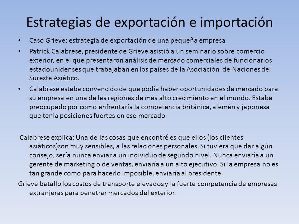 Estrategias de exportación e importación Caso Grieve: estrategia de exportación de una pequeña empresa Patrick Calabrese, presidente de Grieve asistió