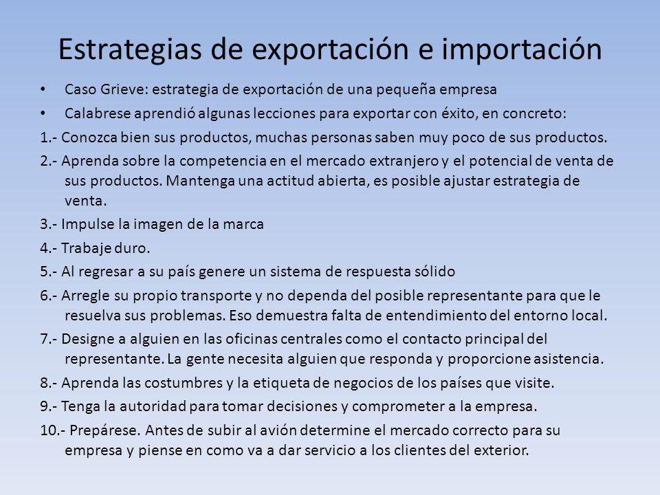 Estrategias de exportación e importación Caso Grieve: estrategia de exportación de una pequeña empresa Calabrese aprendió algunas lecciones para expor
