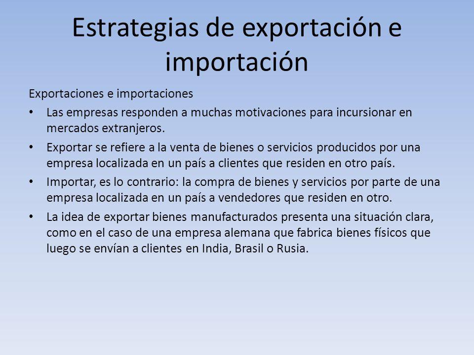 Estrategias de exportación e importación Exportaciones e importaciones Las empresas responden a muchas motivaciones para incursionar en mercados extra