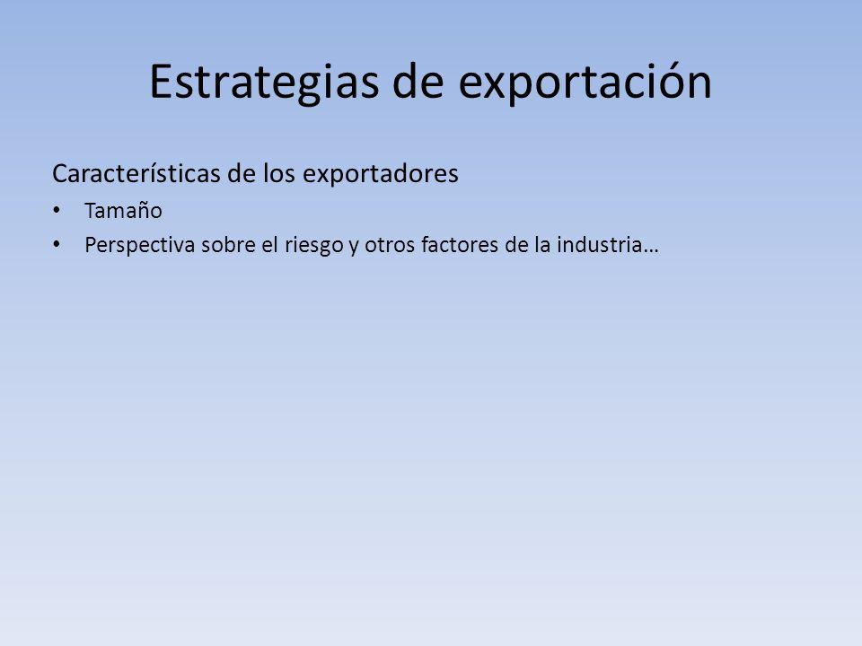 Estrategias de exportación Características de los exportadores Tamaño Perspectiva sobre el riesgo y otros factores de la industria…