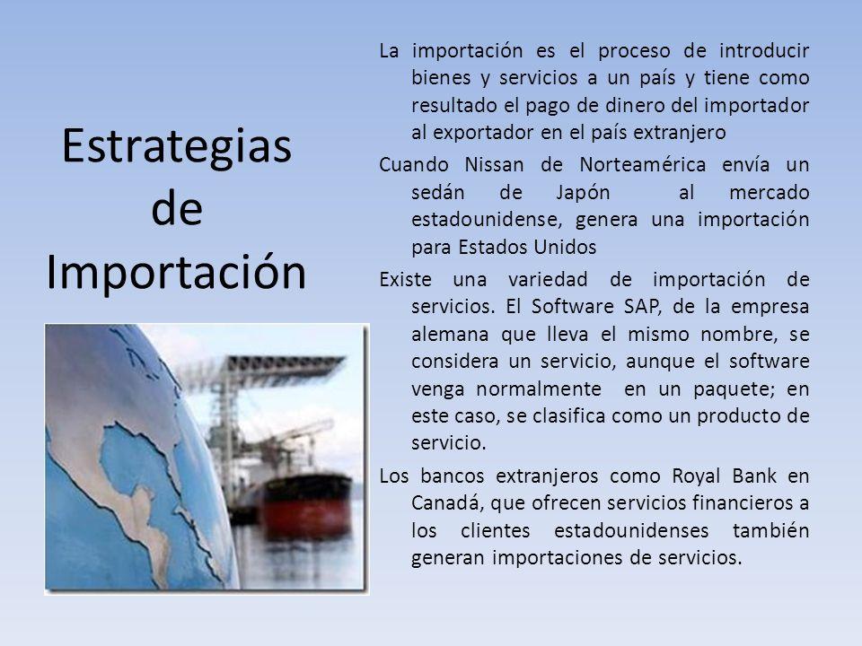 Estrategias de Importación La importación es el proceso de introducir bienes y servicios a un país y tiene como resultado el pago de dinero del import