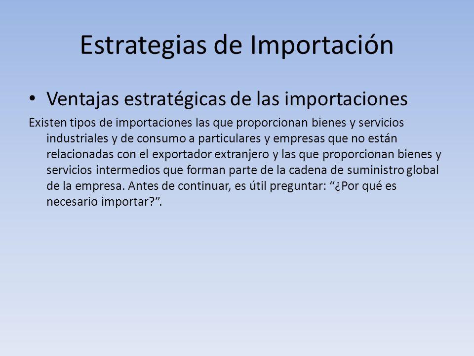 Estrategias de Importación Ventajas estratégicas de las importaciones Existen tipos de importaciones las que proporcionan bienes y servicios industria
