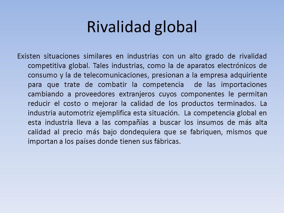 Rivalidad global Existen situaciones similares en industrias con un alto grado de rivalidad competitiva global. Tales industrias, como la de aparatos