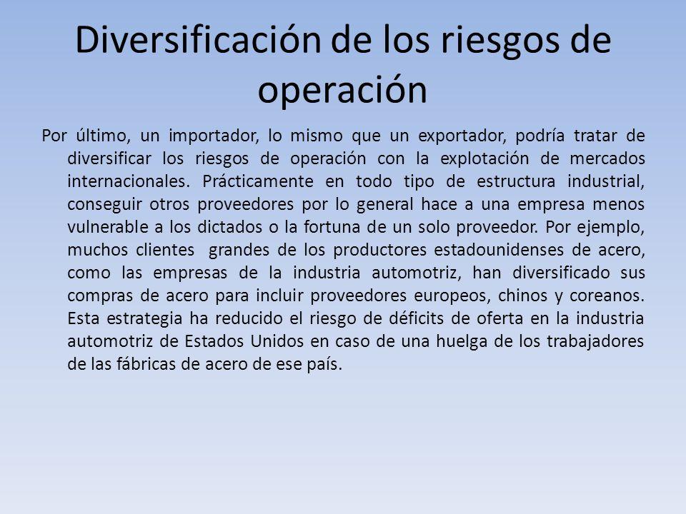 Diversificación de los riesgos de operación Por último, un importador, lo mismo que un exportador, podría tratar de diversificar los riesgos de operac