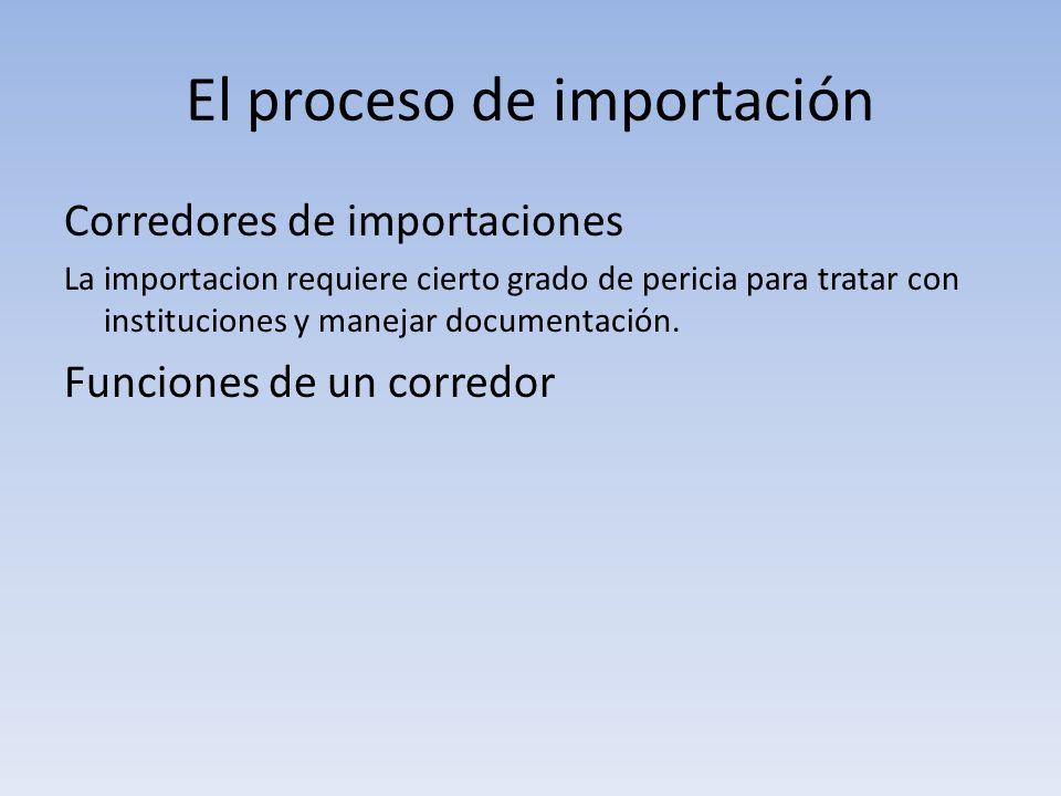 El proceso de importación Corredores de importaciones La importacion requiere cierto grado de pericia para tratar con instituciones y manejar document