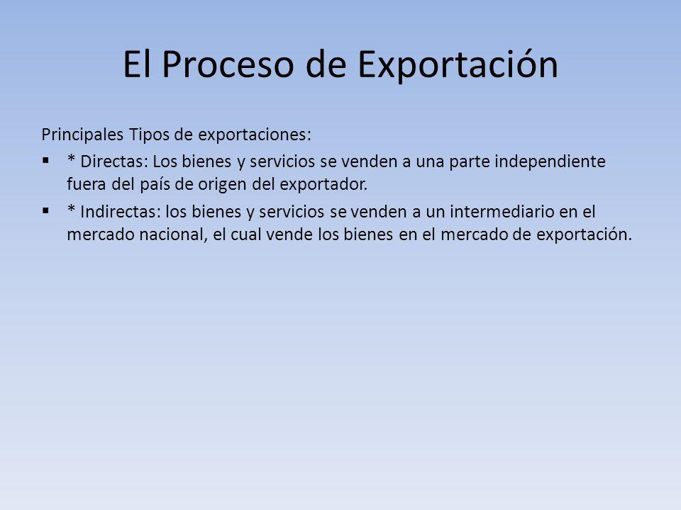 El Proceso de Exportación Principales Tipos de exportaciones: * Directas: Los bienes y servicios se venden a una parte independiente fuera del país de