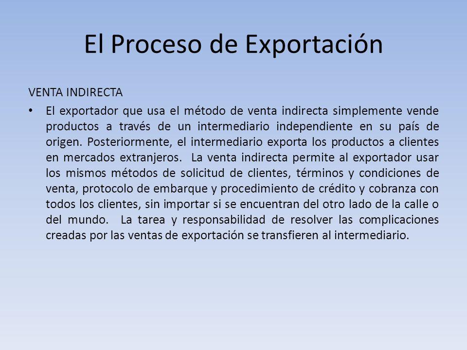 El Proceso de Exportación VENTA INDIRECTA El exportador que usa el método de venta indirecta simplemente vende productos a través de un intermediario