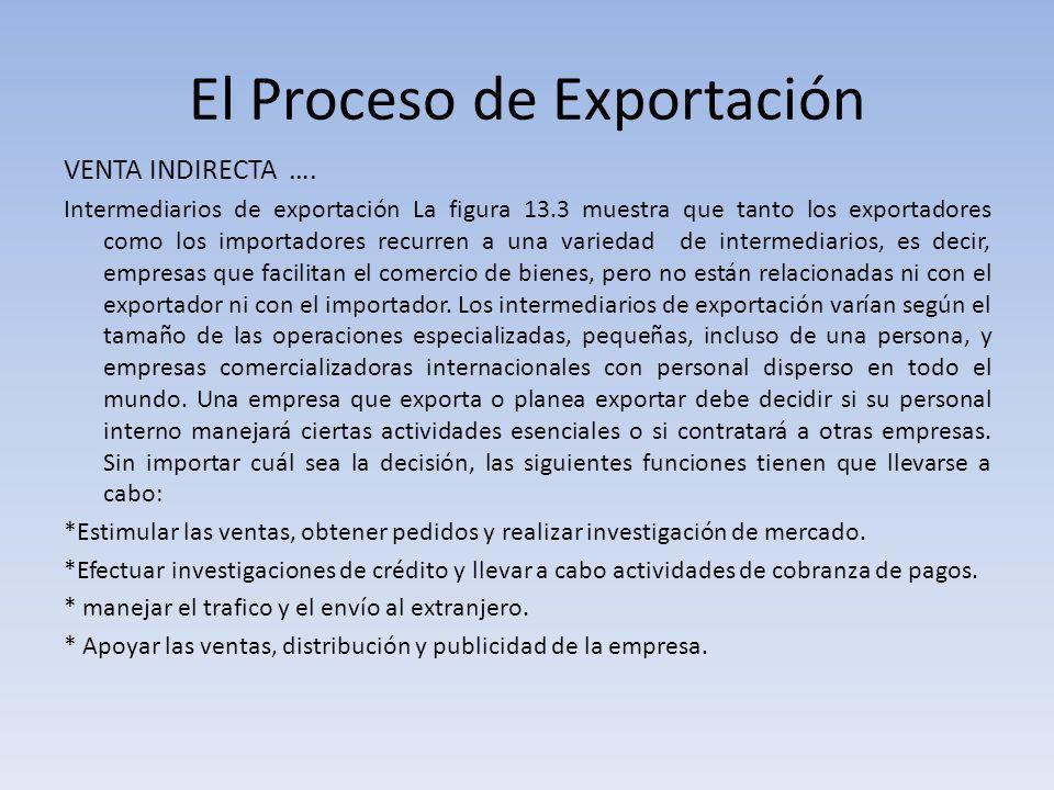 El Proceso de Exportación VENTA INDIRECTA …. Intermediarios de exportación La figura 13.3 muestra que tanto los exportadores como los importadores rec