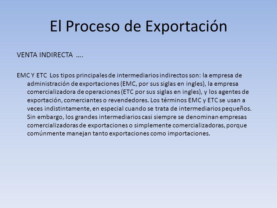 El Proceso de Exportación VENTA INDIRECTA …. EMC Y ETC Los tipos principales de intermediarios indirectos son: la empresa de administración de exporta