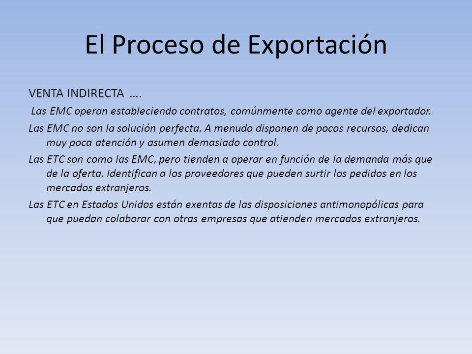 El Proceso de Exportación VENTA INDIRECTA …. Las EMC operan estableciendo contratos, comúnmente como agente del exportador. Las EMC no son la solución
