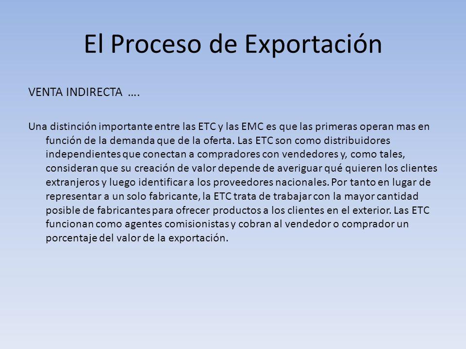 El Proceso de Exportación VENTA INDIRECTA …. Una distinción importante entre las ETC y las EMC es que las primeras operan mas en función de la demanda