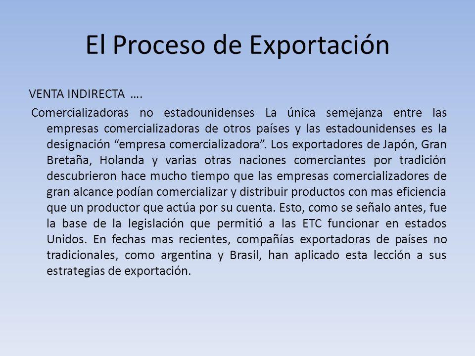 El Proceso de Exportación VENTA INDIRECTA …. Comercializadoras no estadounidenses La única semejanza entre las empresas comercializadoras de otros paí