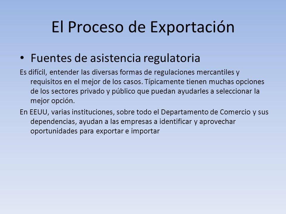 El Proceso de Exportación Fuentes de asistencia regulatoria Es difícil, entender las diversas formas de regulaciones mercantiles y requisitos en el me
