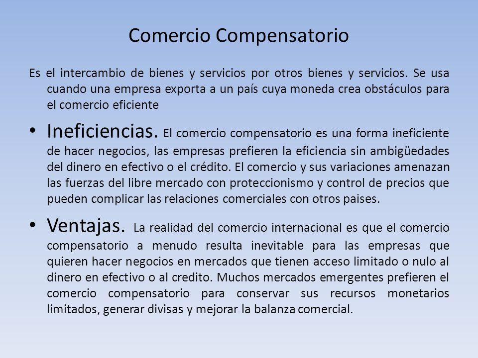 Comercio Compensatorio Es el intercambio de bienes y servicios por otros bienes y servicios. Se usa cuando una empresa exporta a un país cuya moneda c