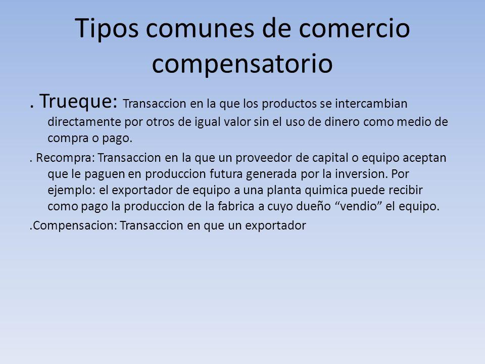 Tipos comunes de comercio compensatorio. Trueque: Transaccion en la que los productos se intercambian directamente por otros de igual valor sin el uso