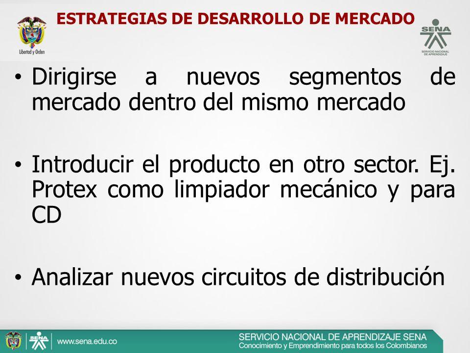 ESTRATEGIAS DE DESARROLLO DE MERCADO Dirigirse a nuevos segmentos de mercado dentro del mismo mercado Introducir el producto en otro sector. Ej. Prote