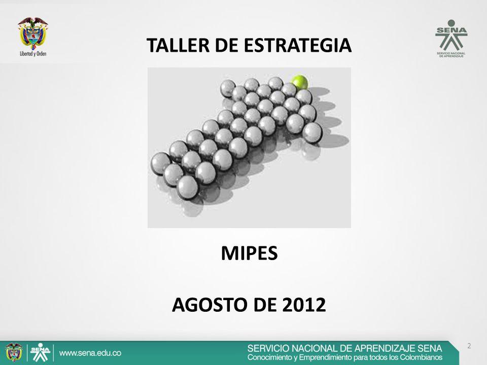 2 TALLER DE ESTRATEGIA MIPES AGOSTO DE 2012