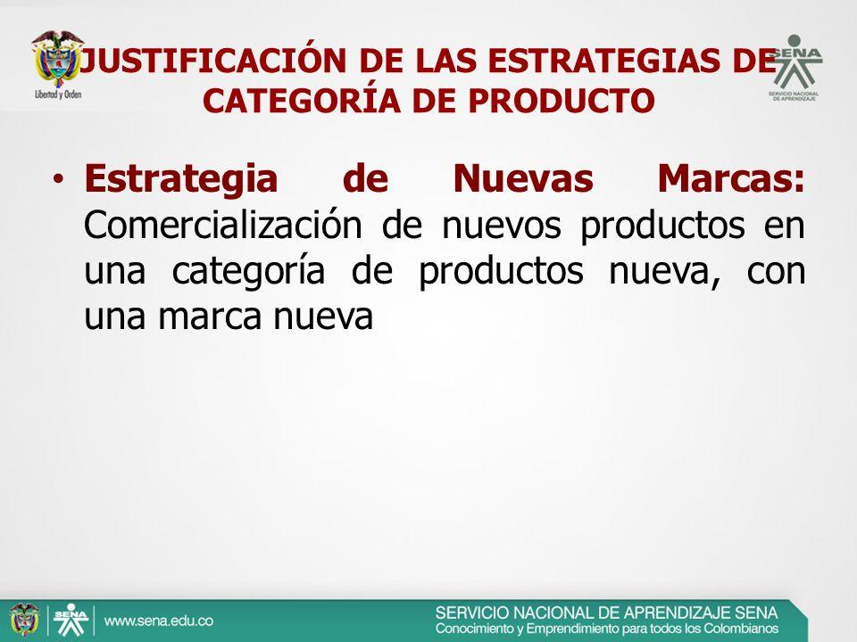 Estrategia de Nuevas Marcas: Comercialización de nuevos productos en una categoría de productos nueva, con una marca nueva JUSTIFICACIÓN DE LAS ESTRAT