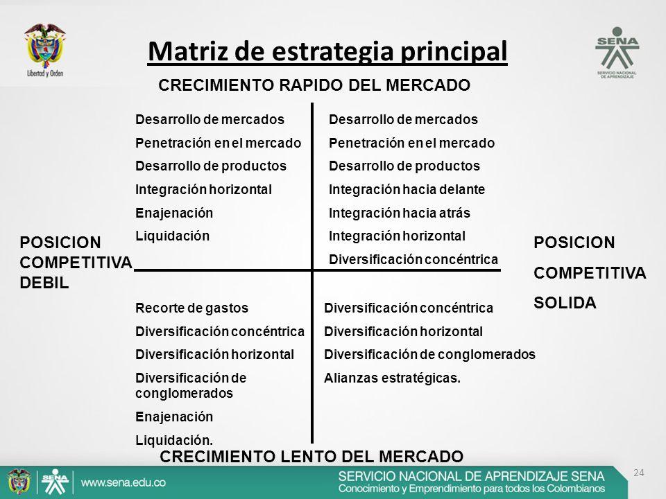 24 Matriz de estrategia principal POSICION COMPETITIVA SOLIDA POSICION COMPETITIVA DEBIL CRECIMIENTO RAPIDO DEL MERCADO CRECIMIENTO LENTO DEL MERCADO