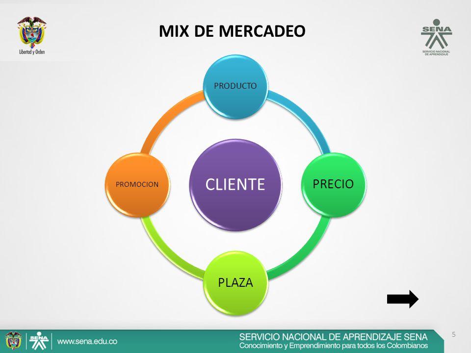 CLIENTE PRODUCTO PRECIOPLAZA PROMOCION 5 MIX DE MERCADEO