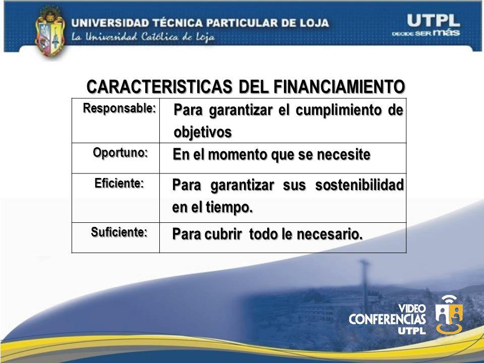 CARACTERISTICAS DEL FINANCIAMIENTO Responsable: Para garantizar el cumplimiento de objetivos Oportuno: Oportuno: En el momento que se necesite Eficien