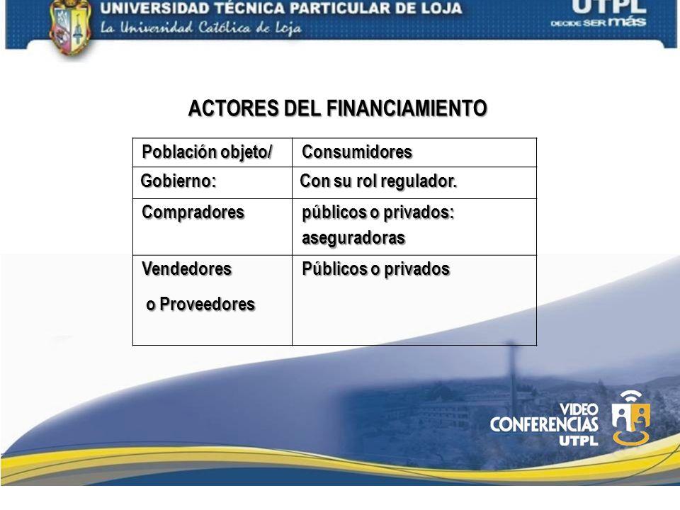 ACTORES DEL FINANCIAMIENTO Población objeto/ Consumidores Gobierno: Gobierno: Con su rol regulador. Con su rol regulador. Compradores públicos o priva